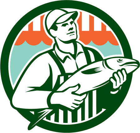 fishmonger: Illustration of a butcher fishmonger worker holding fish set inside circle done in retro style.