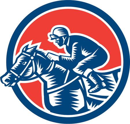 thoroughbred horse: Illustration of horse and jockey racing viewed from side set inside circle on isolated background done in retro woodcut style.