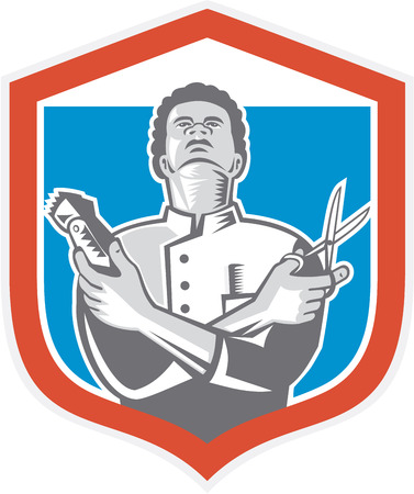 clipper: Illustration of an african-american barber holding a hair clipper and scissors facing front looking up set inside shield crest done in retro style on isolated background.