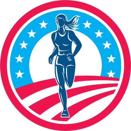 Illustration of an american marathon triathlete runner running winning finishing race set inside circle with stars and stripes in the background done in retro style.