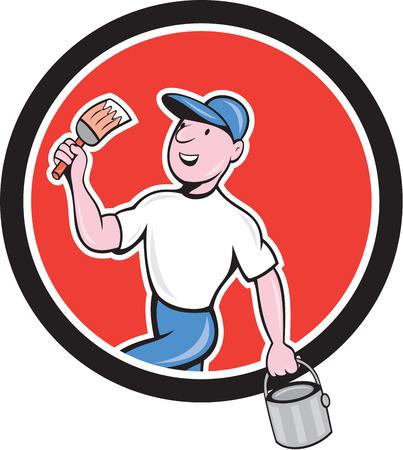 house painter: Illustration of a house painter holding paintbrush and bucket set inside circle on isolated background done in cartoon style.
