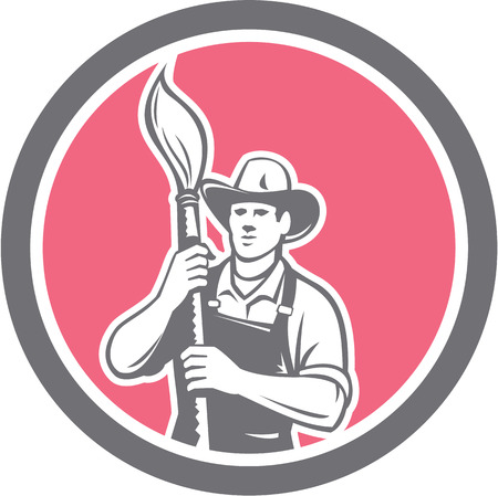 house painter: Illustration of a house painter holding paintbrush set inside circle on isolated background done in retro style. Illustration