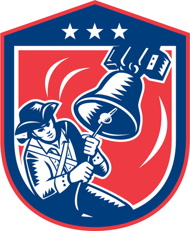 Illustration of an American Patriot ringing liberty bell set inside crest shield with stars on isolated white background done in retro woodcut style.  Vector