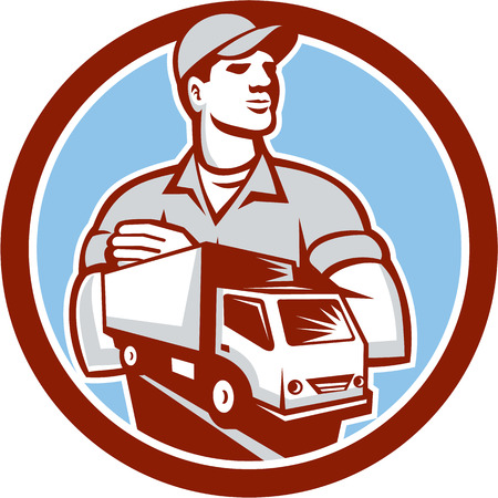 Illustration of a removal man delivery guy with moving truck van set inside circle on isolated background done in retro style. Vector