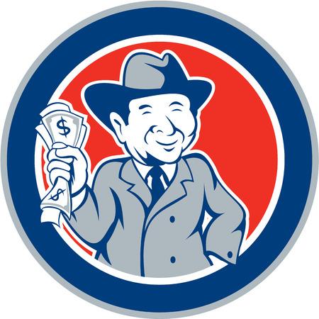 rich man: Ilustraci�n de un hombre de negocios rico hombre con dinero frente a frente sonriendo establece dentro del c�rculo hecho en estilo de dibujos animados sobre fondo aislado. Vectores