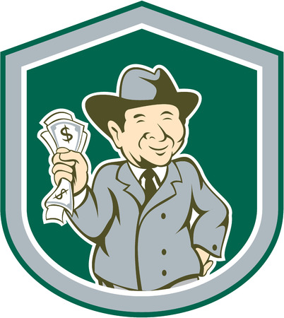 rich man: Illustration of a businessman rich man holding money facing front smiling set inside shield crest done in cartoon style on isolated background.