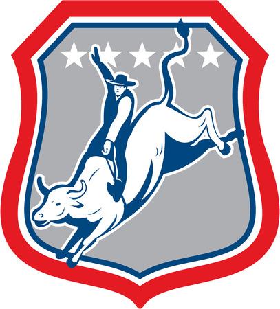 american rodeo: Illustrazione di un americano rodeo cowboy a cavallo bucking bull impostato all'interno scudo stemma con le stelle in background fatto in stile cartone animato.