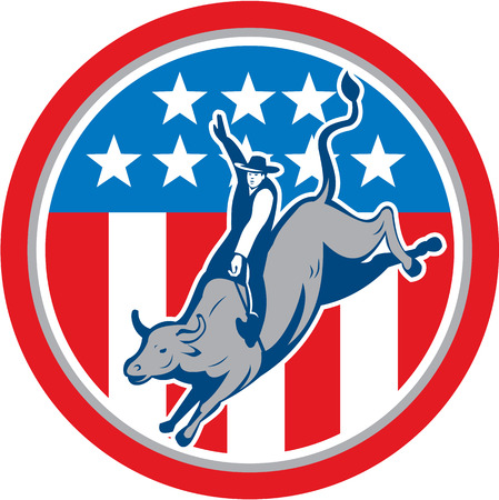 bucking bull: Illustration of an american rodeo cowboy riding bucking bull set inside circle with american flag stars and stripes in the background done in cartoon style.