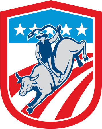 bucking bull: Illustration of an american rodeo cowboy riding bucking bull set inside shield crest with stars and stripes in the background done in retro style.