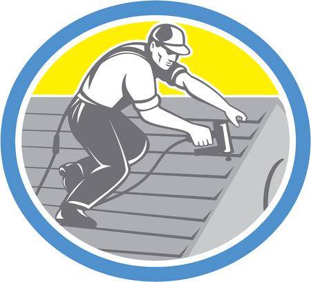 Illustratie van een dakdekker bouwvakker dakbedekking werken aan huis dak met schiethamer nailgun nagelpistool set binnen cirkel gedaan in retro stijl. Stock Illustratie