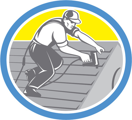 roofer: Illustration of a roofer construction worker roofing working on house roof with nail gun nailgun nailer set inside circle done in retro style.