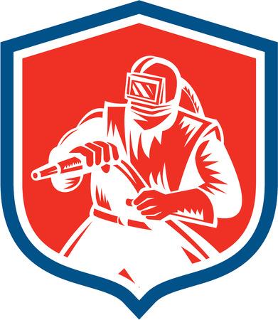 sandblasting: Illustration of a sandblaster worker holding sandblasting hose wearing helmet visor set inside shield crest on isolated background done in retro woodcut style.
