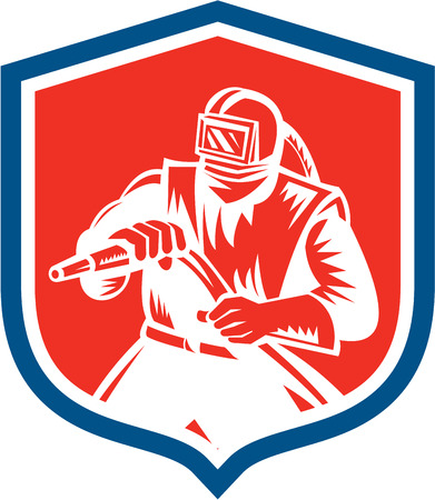 Illustration of a sandblaster worker holding sandblasting hose wearing helmet visor set inside shield crest on isolated background done in retro woodcut style.