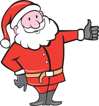 nicholas: Illustration of santa claus saint nicholas father christmas standing thumbs up on isolated white background done in cartoon style.