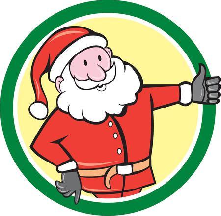 saint nicholas: Ilustraci�n de Pap� Noel San Nicol�s navidad del padre de pie pulgares cre� dentro del c�rculo sobre fondo blanco aislado hecho en estilo de dibujos animados.