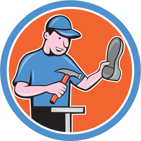 cobbler: Illustration of a shoemaker cobbler shoe repair with hammer and shoe working set inside circle on isolated background done in cartoon style. Illustration