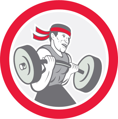 Illustration of a weightlifter lifting barbell weights set inside circle shape on isolated white background done in cartoon style.  Illustration