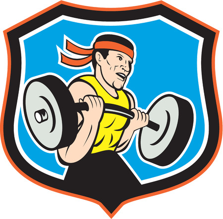 Illustration of a weightlifter lifting barbell weights set inside shield crest shape on isolated background done in cartoon style.