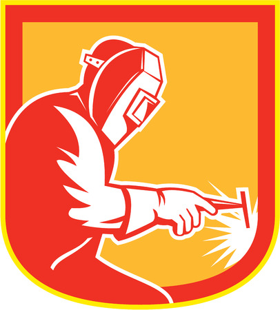 fabrication: Illustration of welder worker working holding welding torch viewed from side set inside shield crest on isolated background done in retro style.