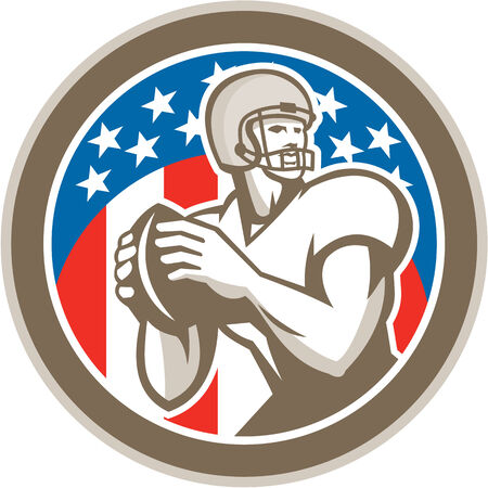 quarterback: Illustration of an american football gridiron quarterback player throwing ball facing side set inside circle with stars in background done in retro style. Illustration
