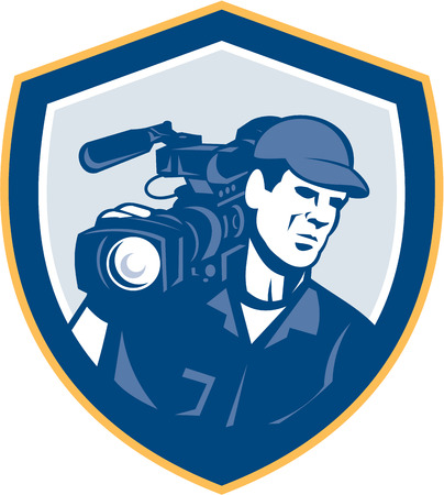 hd video: Illustration of a cameraman film crew shooting with hd video movie camera on shoulder set inside shield crest done in retro style on isolated white backgrounbd. Illustration