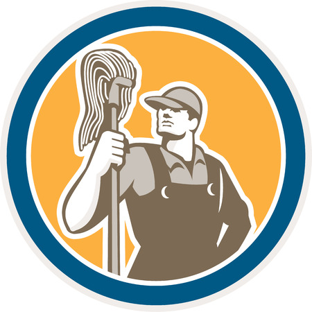 janitor: Illustration of a janitor cleaner worker holding mop standing viewed from front set inside circle on isolated background done in retro style.