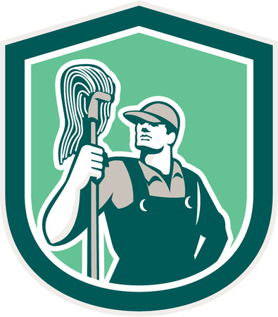 janitor: Illustration of a janitor cleaner worker holding mop standing viewed from front set inside shield crest on isolated background done in retro style.  Illustration