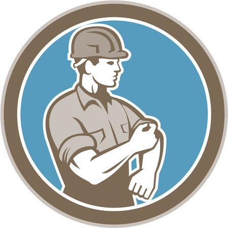 rolling up: Illustration of a construction worker wearing hardhat rolling up sleeve facing side set inside circle on isolated background done in retro style. Illustration