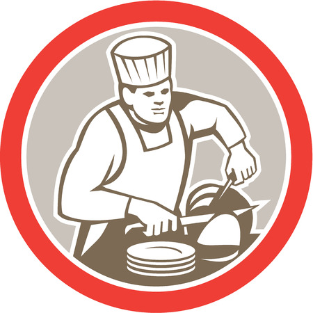 slicing: Illustration of a chef cook with knife plates slicing meat set inside circle on isolated background done in retro style.