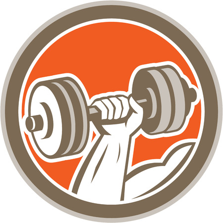 hand weight: Illustration of a hand lifting dumbbell weight training set inside circle on isolated background done in retro style. Illustration