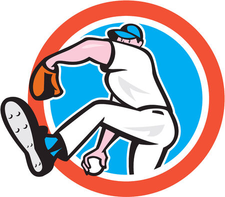 Illustration of a american baseball player pitcher outfilelder throwing ball set inside circle on isolated background done in cartoon style.  Vector