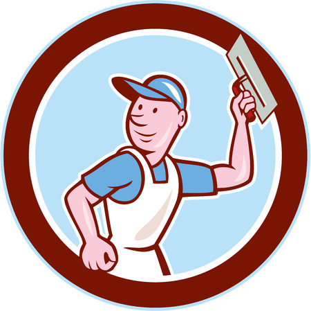 plasterer: Illustration of a plasterer masonry tradesman construction worker with trowel set inside circle done in cartoon style on isolated background.