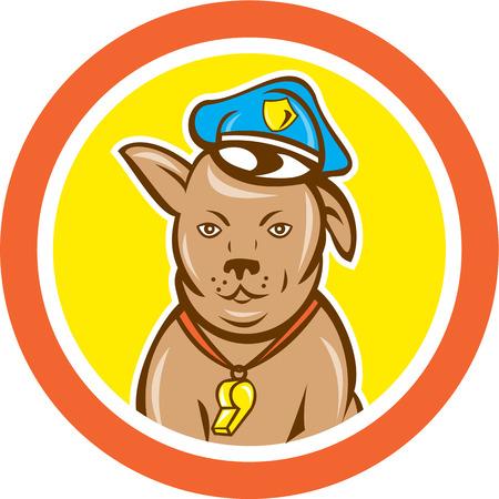 perro policia: Ilustración de un canino guardia de la policía con el sombrero y silbato visto de frente fijó el círculo interior en el fondo aislado hecho en estilo de dibujos animados.