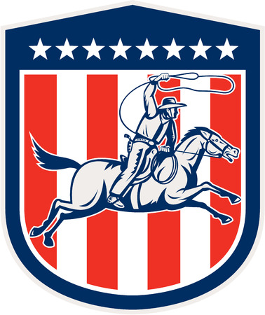 rodeo americano: Ilustraci�n de un vaquero americano del rodeo montar a caballo con la cuerda del lazo establecido dentro cresta escudo con estrellas y rayas hecho en estilo retro.