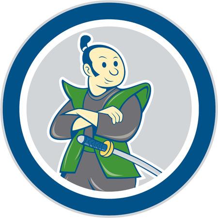 guerrero samurai: Ilustraci�n de un guerrero samurai brazos cruzados con la espada katana mirando al lado fij� el c�rculo interior en el fondo aislado hecho en estilo de dibujos animados.