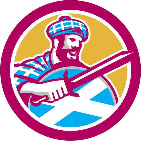 highlander: Ilustración de un escocés highlander con la espada con la bandera de Escocia en el escudo que llevaba el tartán fijó el círculo interior hecho en estilo retro.