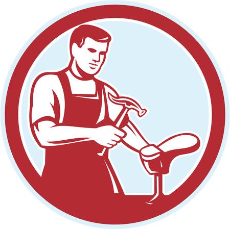 Illustratie van een schoenmaker schoenmaker schoenmaker met hamer en schoen werkende set binnen cirkel op witte achtergrond gedaan in retro stijl.