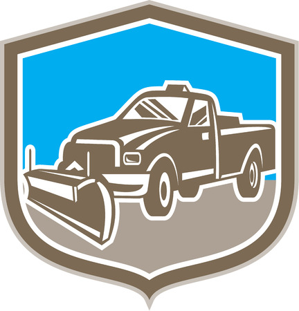 plow: Illustration of a snow plow truck set inside shield on isolated background done in retro style.