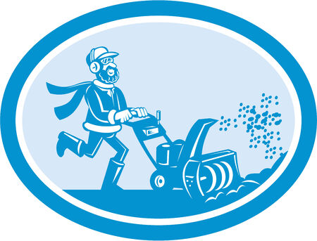 blower: Illustration of man with snow blower set inside oval shape on isolated background done in cartoon style. Illustration
