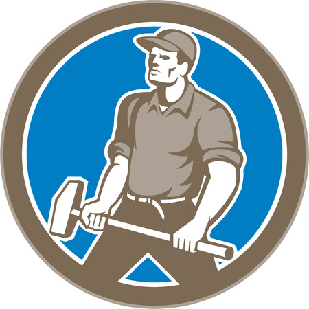 sledgehammer: Illustration of a union worker holding sledgehammer hammer done in retro style set inside circle on isolated background.