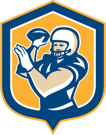 quarterback: Illustration of an american football gridiron quarterback qb throwing ball set inside shield crest on isolated background done in retro style.  Illustration