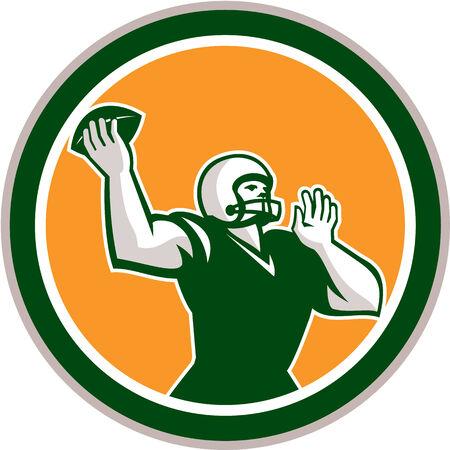 gridiron: Ilustraci�n de un campo de f�tbol americano de f�tbol mariscal qb lanzando pelota de frente al lado fij� el c�rculo interior en el fondo aislado hecho en estilo retro.