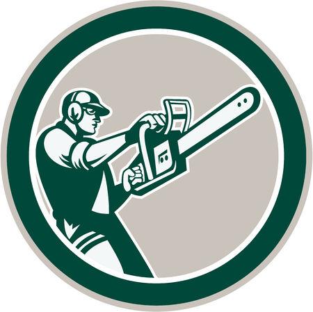 Illustration d'un bûcheron arboriculteur débroussailleuse tenant une tronçonneuse placé à l'intérieur de forme de cercle sur fond blanc isolé fait dans le style rétro. Vecteurs