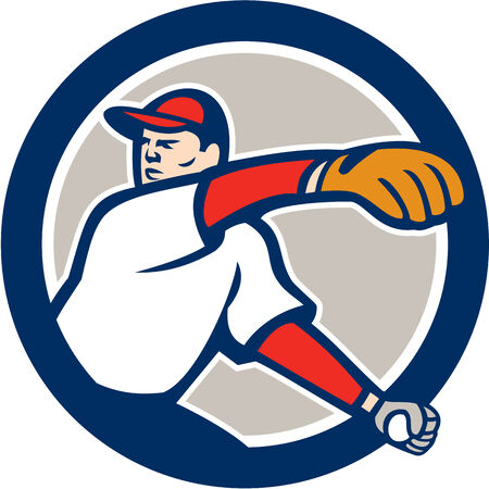 Illustration of an american baseball player pitcher outfilelder throwing ball on isolated background set inside circle done in cartoon style. Vector