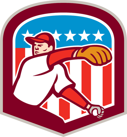 outfielder: Illustration of an american baseball player pitcher outfilelder throwing ball with stars and stripes american flag in the background set inside shield crest done in cartoon style.