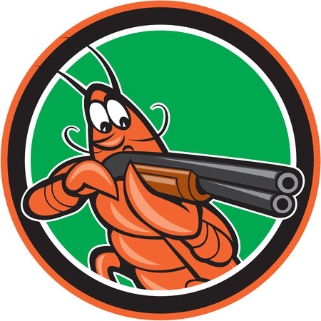 wildlife shooting: Illustration of a crayfish lobster aiming pointing shooting shotgun on isolated background set inside circle done in cartoon style. Illustration