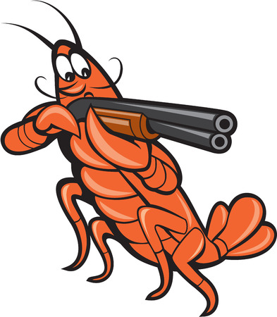 Illustration of a crayfish lobster aiming pointing shooting shotgun on isolated white background done in cartoon style.  イラスト・ベクター素材