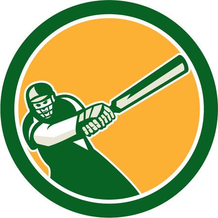 bateo: Ilustraci�n de un jugador de cricket bateador bateo con el bate frente al frente fij� el c�rculo interior hecho en estilo retro en el fondo aislado.