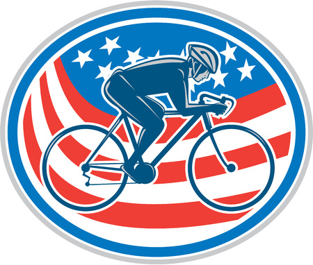 uphill: Illustration of a cyclist biking riding mountain bike facing side set inside oval with american flag stars and stripes in the background done in retro style.