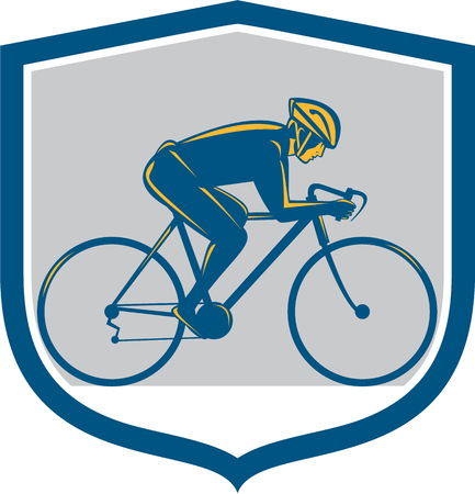 bike riding: Illustration of a cyclist biking riding mountain bike facing side set inside shield on isolated background done in retro style.  Illustration